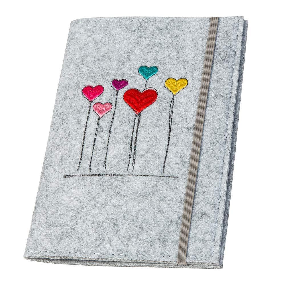 Farbe w/ählbar Mutterpassh/ülle Herzblumen aus Filz grau Design H/ülle f/ür deutschen Mutterpass mit Gummiband