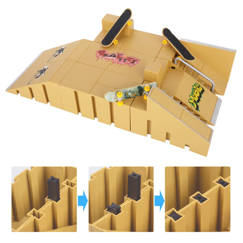 KidsHobby 8PCS Kit de Rampas Skatepark del Patin Mini Dedo Monopatin Patín del Dedo Fingerboards Parques Tablero Juguete Divertido Regalo Creativo ...