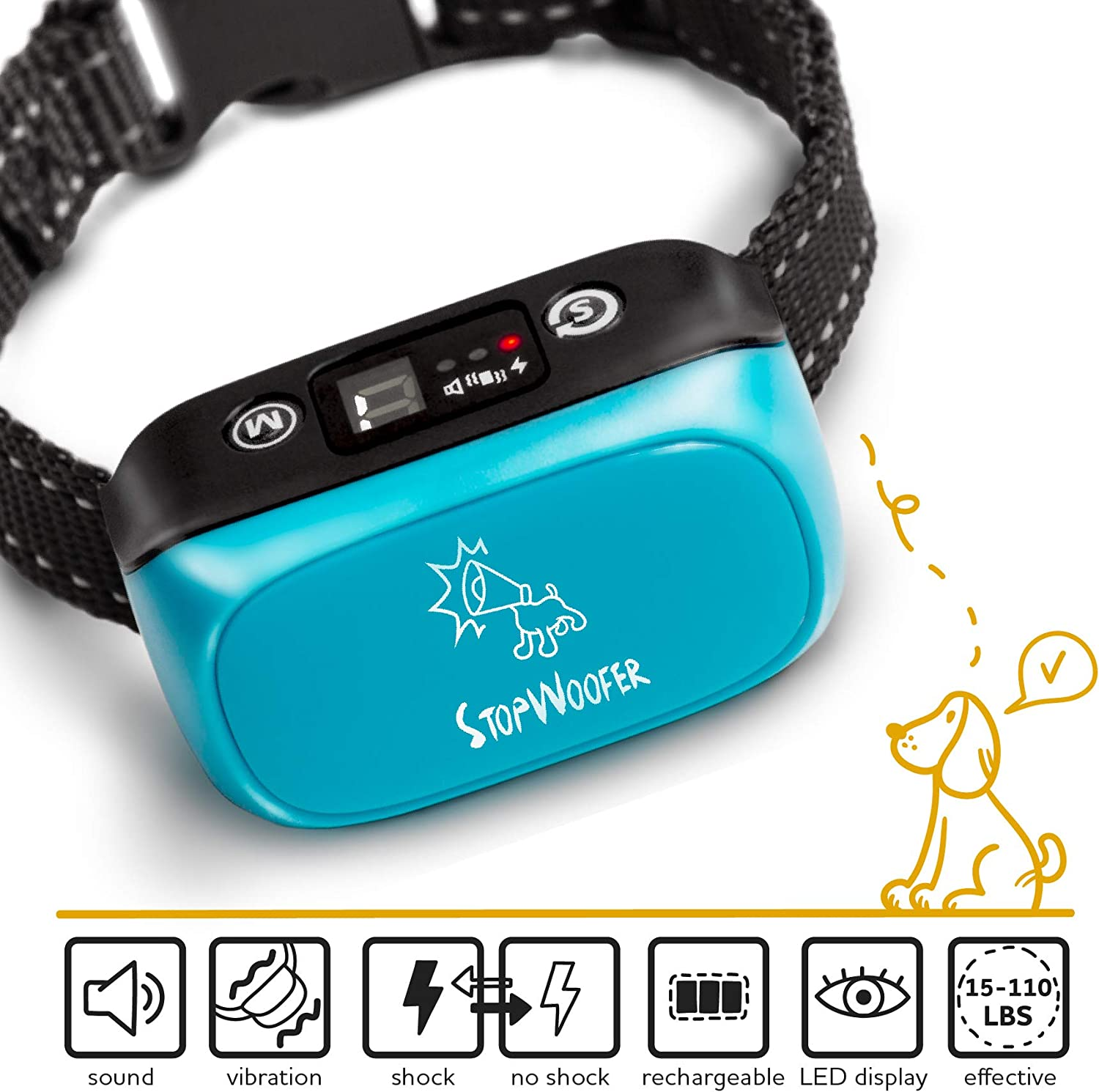 Dog Collar Anti Barking Device – Shock Collar for Large Dogs Small Dogs and Medium Dogs – Rechargeable Bark Collar with Sound Warning Vibration Electric Stimulation Bark Control Collar