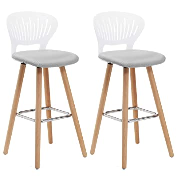Tabouret De Bar Blanc Et Bois.Songmics Tabourets De Bar Lot De 2 Assise Rembourree Et