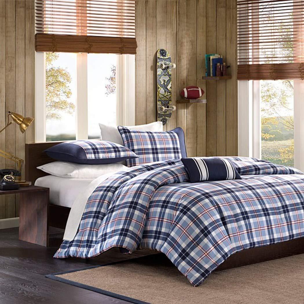 Elegant Amazon.com: Full Queen Twin Comforter Bed Set Teen Bedding Modern  Contemporary Blue Navy Plaid Bedspread Update Bedroom Decor (TWIN/TWIN XL):  Home U0026 Kitchen