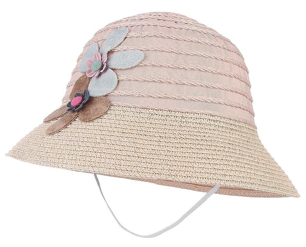 GEMVIE Sombrero Gorro de Paja Ni/ñas Cubo Pescador Ala Ancha Solar Verano Flores Circunferencia//50-54cm