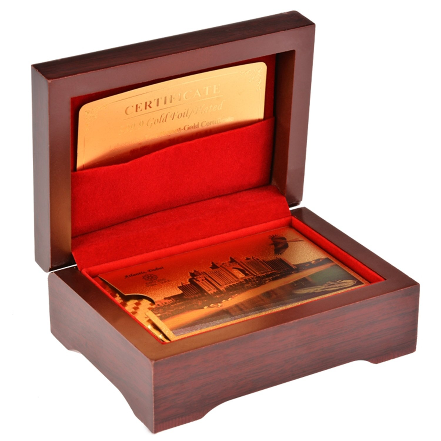 New Golden Color Poker Playing Cards With Wood Box and Certificate