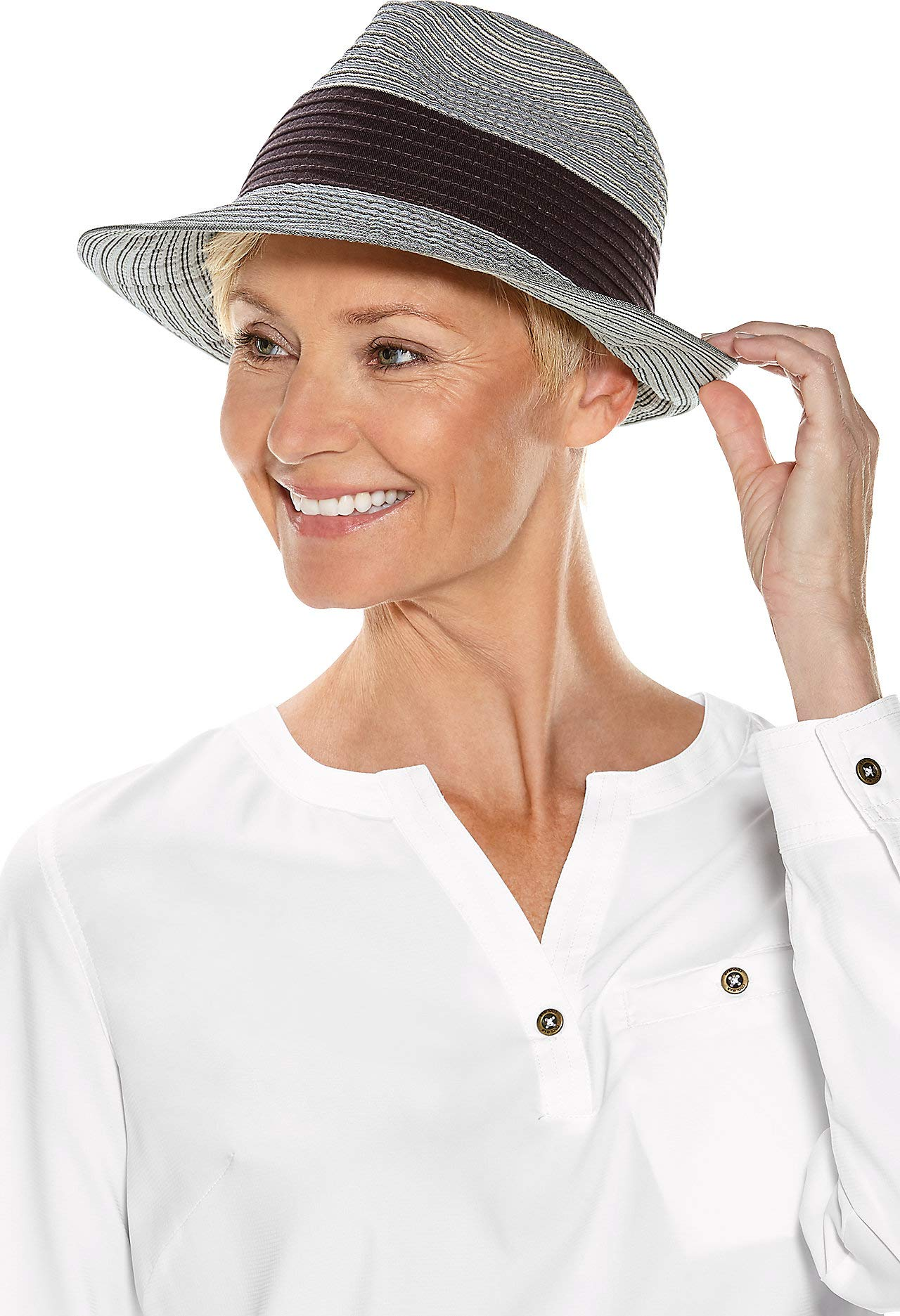 Coolibar UPF 50+ Women's Lucca Fedora - Sun Protective (One Size- Mocha Colorblock) by Coolibar