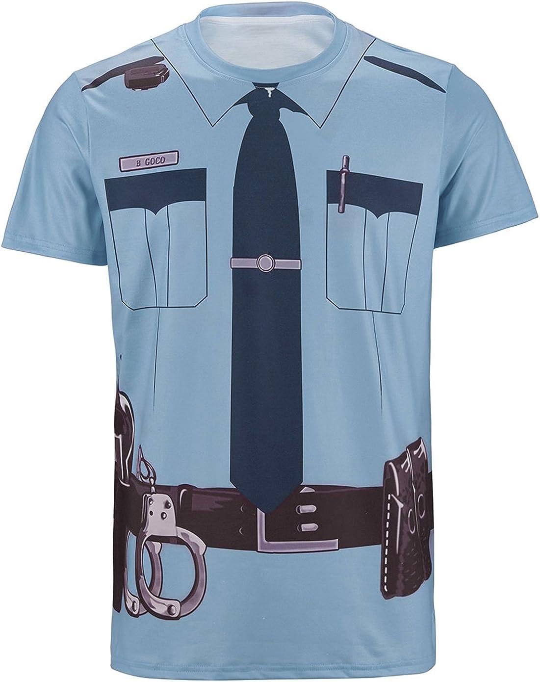 Cosavorock Disfraz Costume de Policía T-Shirts Camisetas Hombre (M, Azul): Amazon.es: Ropa y accesorios
