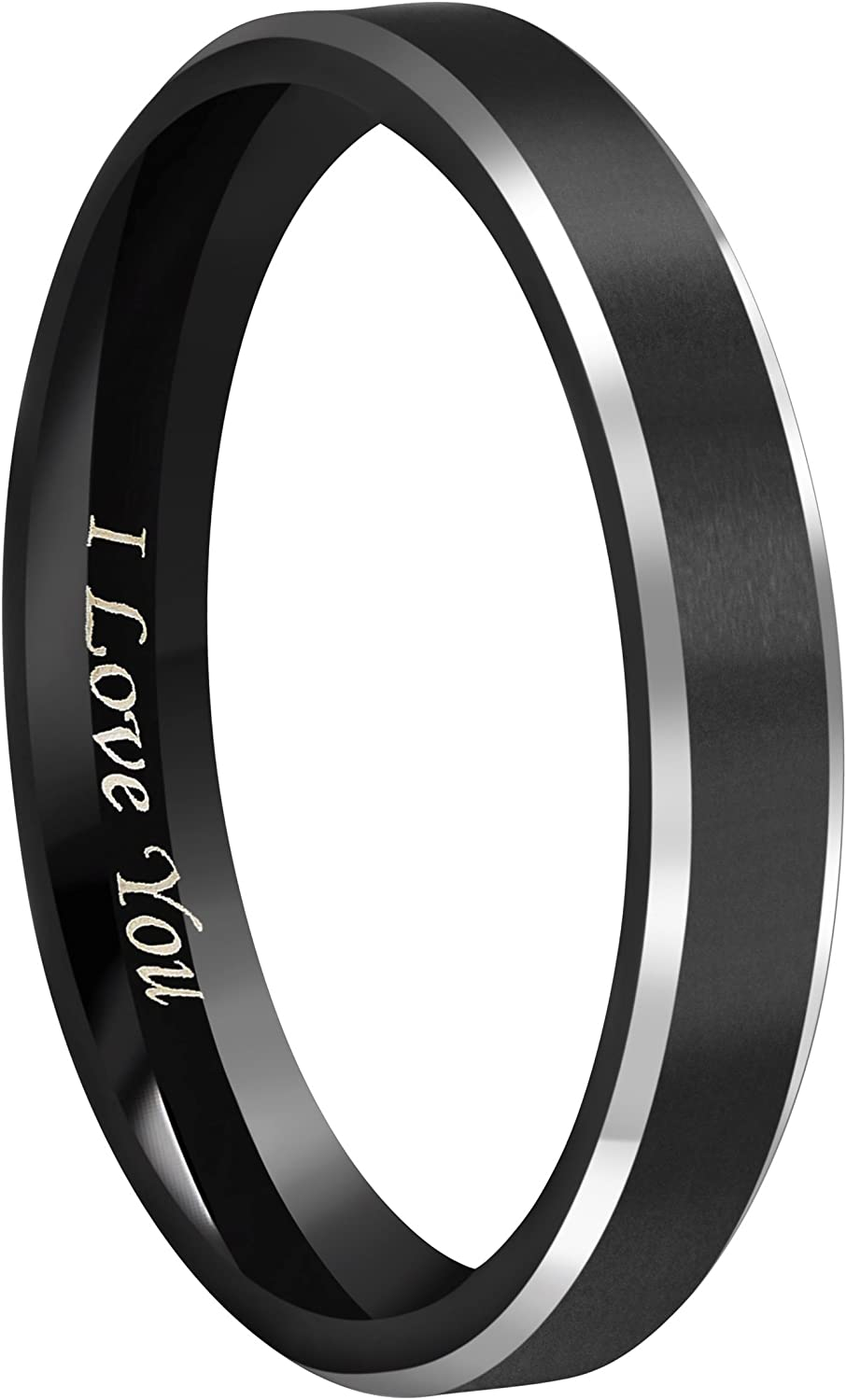 """Crownal 4mm 6mm 8mm Black Tungsten Couple Wedding Bands Rings Men Women Polished Beveled Edges Matte Brushed Finish Engraved""""I Love You"""" Size 3.5 To 17"""