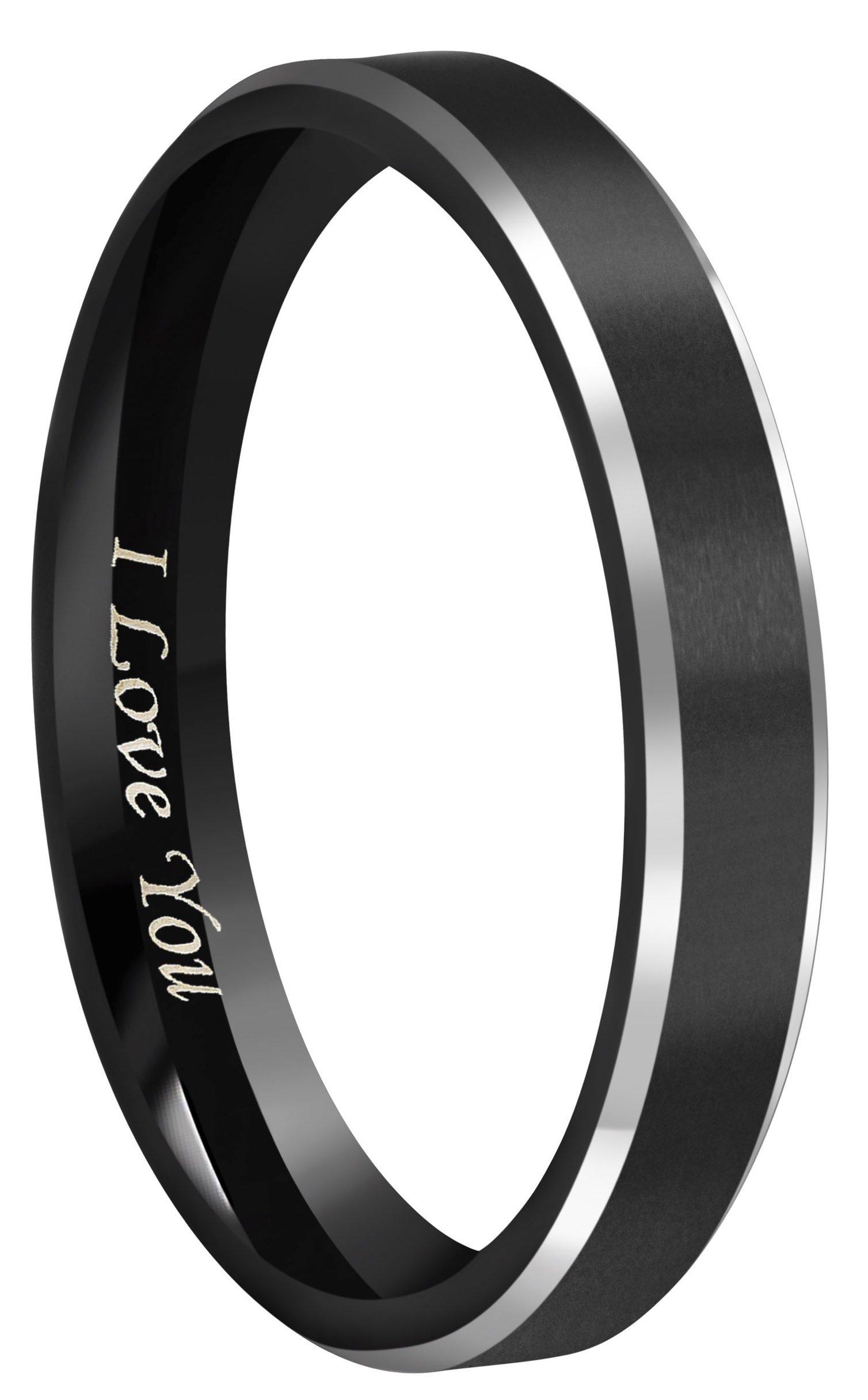 CROWNAL 4mm Black Tungsten Couple Wedding Bands Rings Men Women Polished Beveled Edges Matte Brushed Finish Engraved I Love You Size 3.5 To 17 (4mm,5.5)