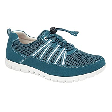 956b4ccb3e13 Boulevard Womens Ladies EEE Wide Fit Toggle Tie Trainers (6 UK) (Blue