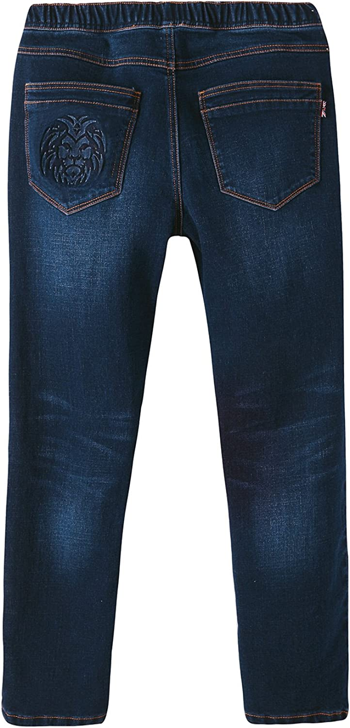 LEO/&LILY Boys Kids Elastic Waist Regular Fit Stretch Denim Jeans Blue LLB648