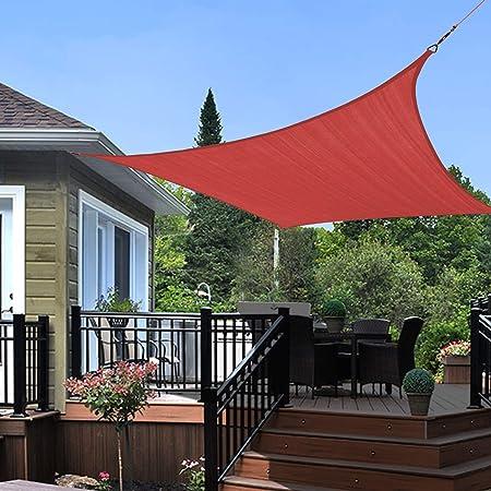 KANAGAWA Sun Shade Sails Rectangle UV Block Canopy for Outdoor Patio Garden Backyard, Rust Red