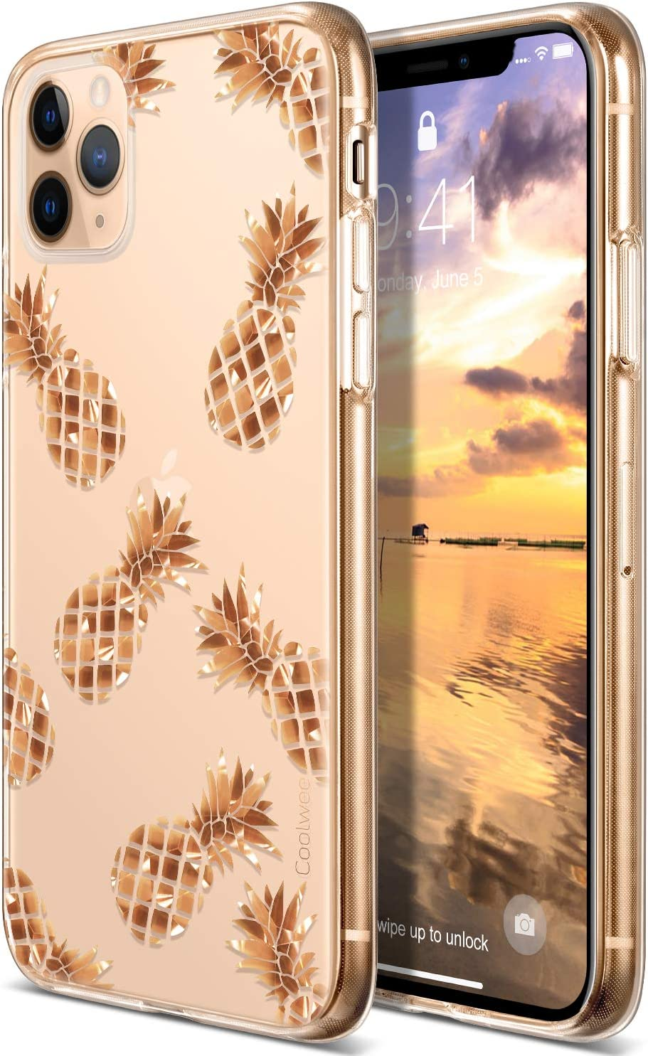 Amazon Com Coolwee For Iphone 11 Pro Max Case Rose Gold Pineapple Floral Case Women Girl Men Foil Clear Design Shiny Glitter Hard Back Case Soft Tpu Bumper Cover For Apple Iphone 11