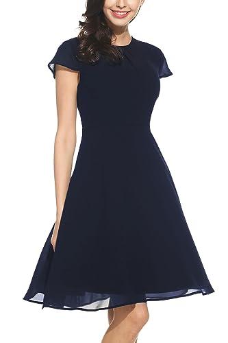 Tomasa Donna Vestito Estivo Chiffon Manica Corta O-Collo Elegante Casuale Nero / Blu navale