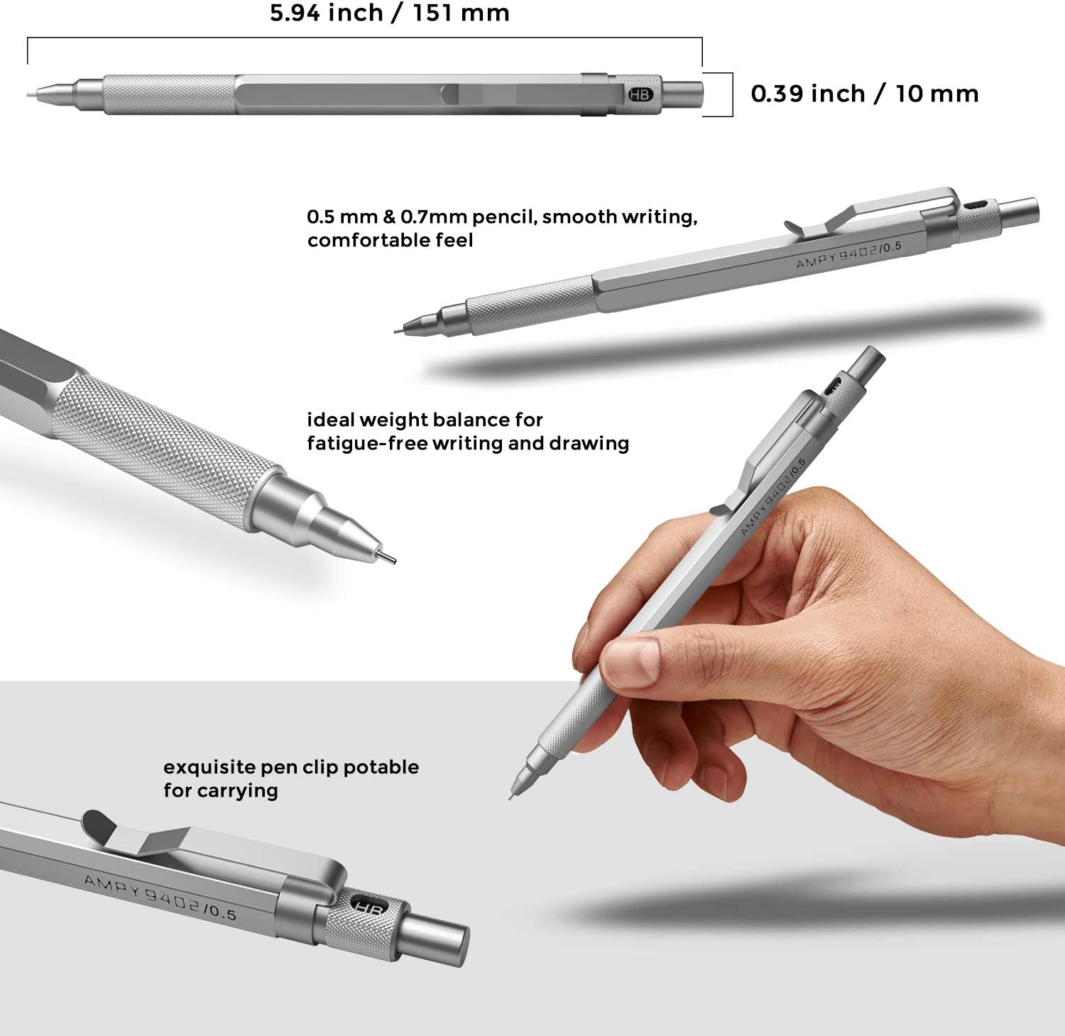 Sketch Nicpro 15 PCS Mechanical Pencil Set,Automatic Drafting Pencil 0.5 mm and 0.7 mm Mechanical Pencils With 3 Tubes HB Lead Refills and 3 Erasers For Writing Draft Drawing Come With Case
