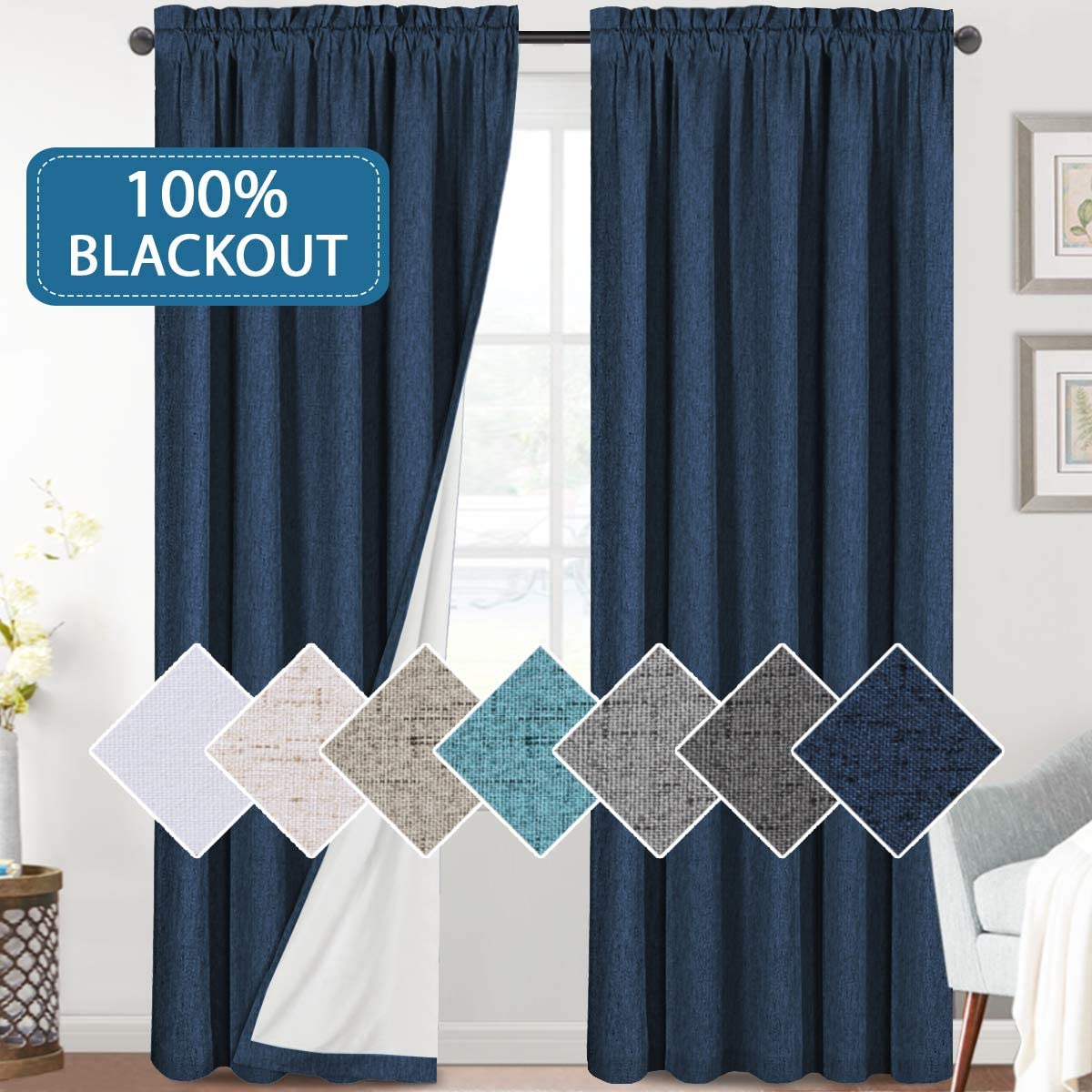 H.VERSAILTEX Linen Look 100% Blackout Curtains 84 Inches Long for Bedroom Full Light Blocking Rod Pocket Linen Textured Thick Window Curtain Drapes with White Backing, Navy, 2 Panels