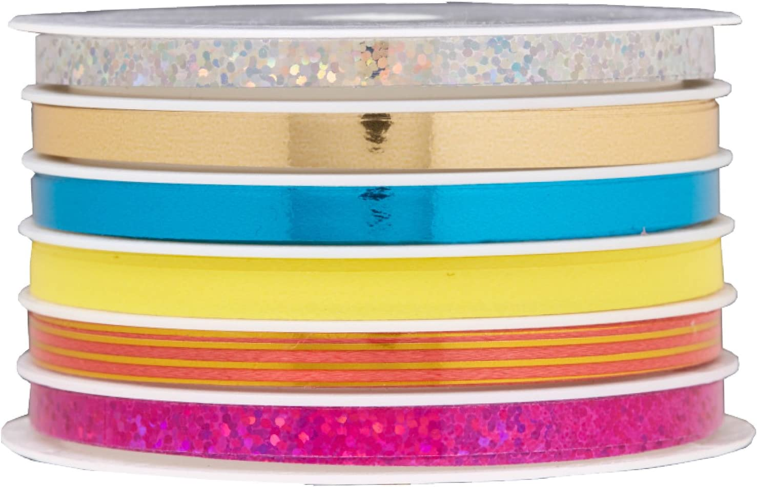 """Curly Ribbon Royal Holo Sparkle 3//16/"""" X 50/' Lot Of 7"""