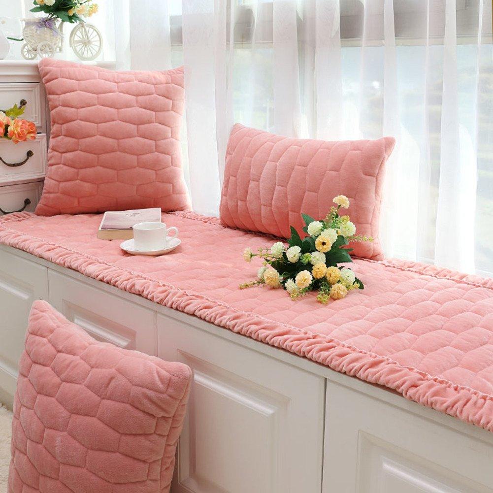 JiaQi Bay Window mat Non Slip,Thicken Modern Slipcover Sofa,Short Plush Bay Window pad Universal Machine Washable-Pink 110x160cm(43x63inch)