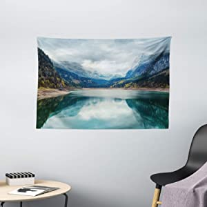 Ambesonne Landscape Tapestry, Alpine Lake with Dramatic Sky Forest and Mountains Journey Art, Wide Wall Hanging for Bedroom Living Room Dorm, 60