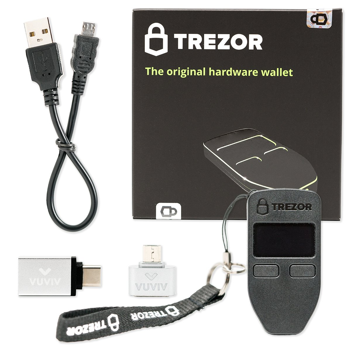 Trezor (Black) Bitcoin Wallet Bundle With VUVIV Micro-USB Adapter and USB-C Adapter for MacBook (3 items) by VUVIV