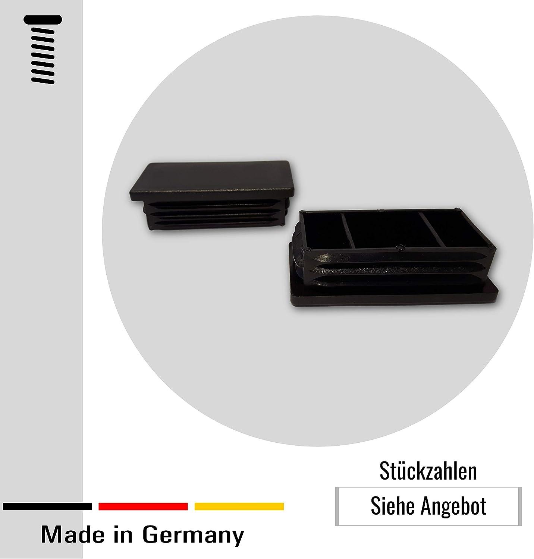 dimensiones exteriores 30x10mm 20 tapones negros para tubos cuadrados