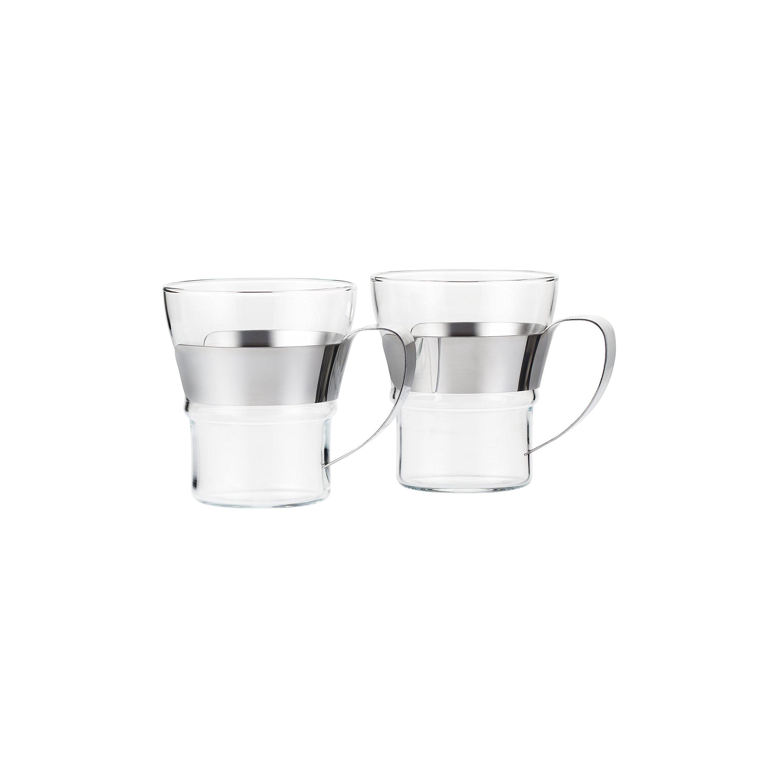 Bodum 4552-16 Assam 2 Piece Small Tea Glass with Steel Handle, 10 oz, Chrome