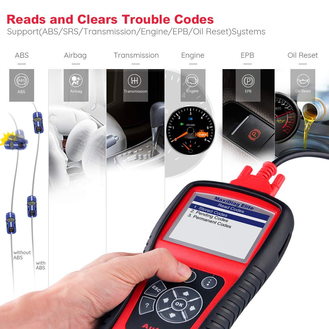 Autel Scanner MD802 Maxidiag Elite Diagnoses for ABS, Engine, Transmission, Airbag, EPB, Oil Service Reset Code Reader OBD2 Diagnostic Tool by Autel (Image #2)