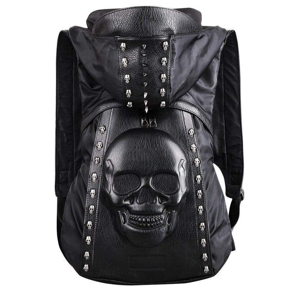 USAMYNA Skull Backpack Rivet Punk Backpack Black Metal 3D Stereo Backpack
