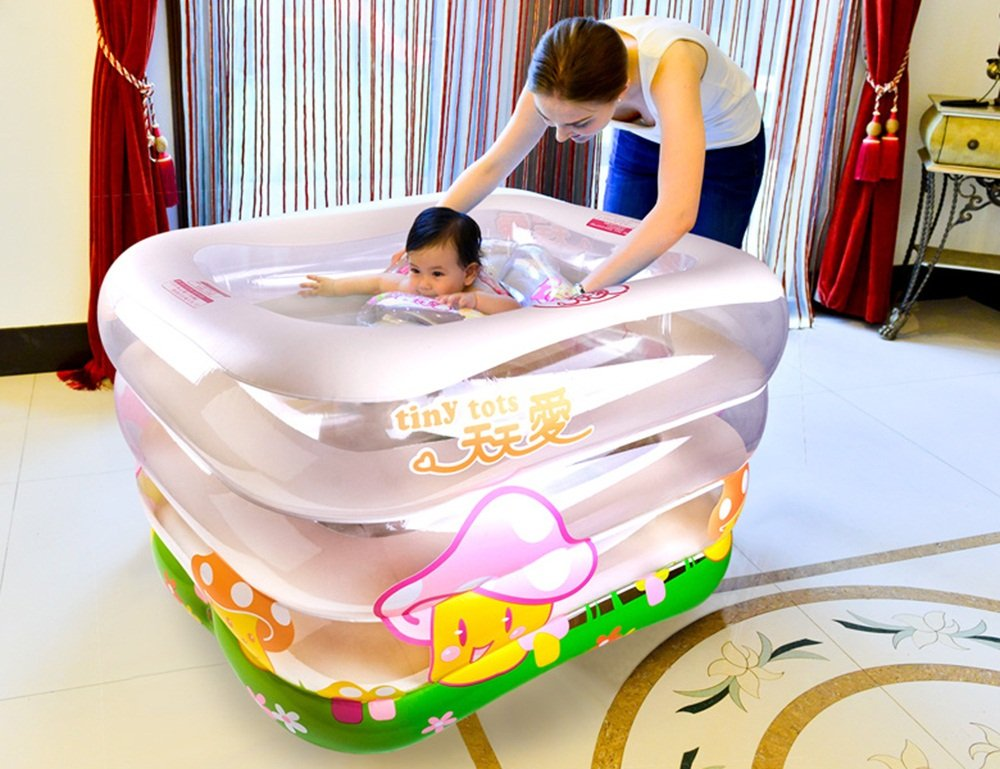 Sunhai& Children Play Pool Swimming Bucket Newborn Tub,Environmental Protection PVC Material Baby Inflatable Swimming Pool ( Size : 14010575cm )