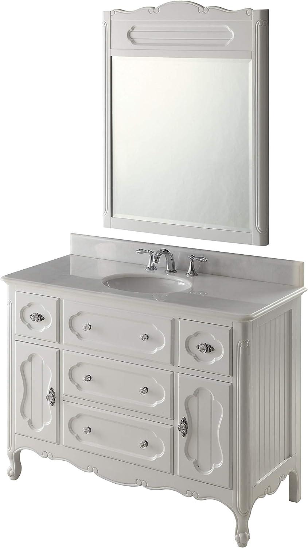 Amazon Com 48 Victorian Cottage White Knoxville Bathroom Vanity W Mirror Gd 1522w 48mir Kitchen Dining