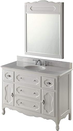 "48"" Victorian Cottage White Knoxville Bathroom Vanity w/Mirror GD-1522W-48MIR"