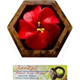 """Jittasil Thai Hand-Carved Soap Flower, 4"""" Scented Soap Carving Gift-Set, Hibiscus In Decorative Hexagonal Wood Case, assorted colors"""