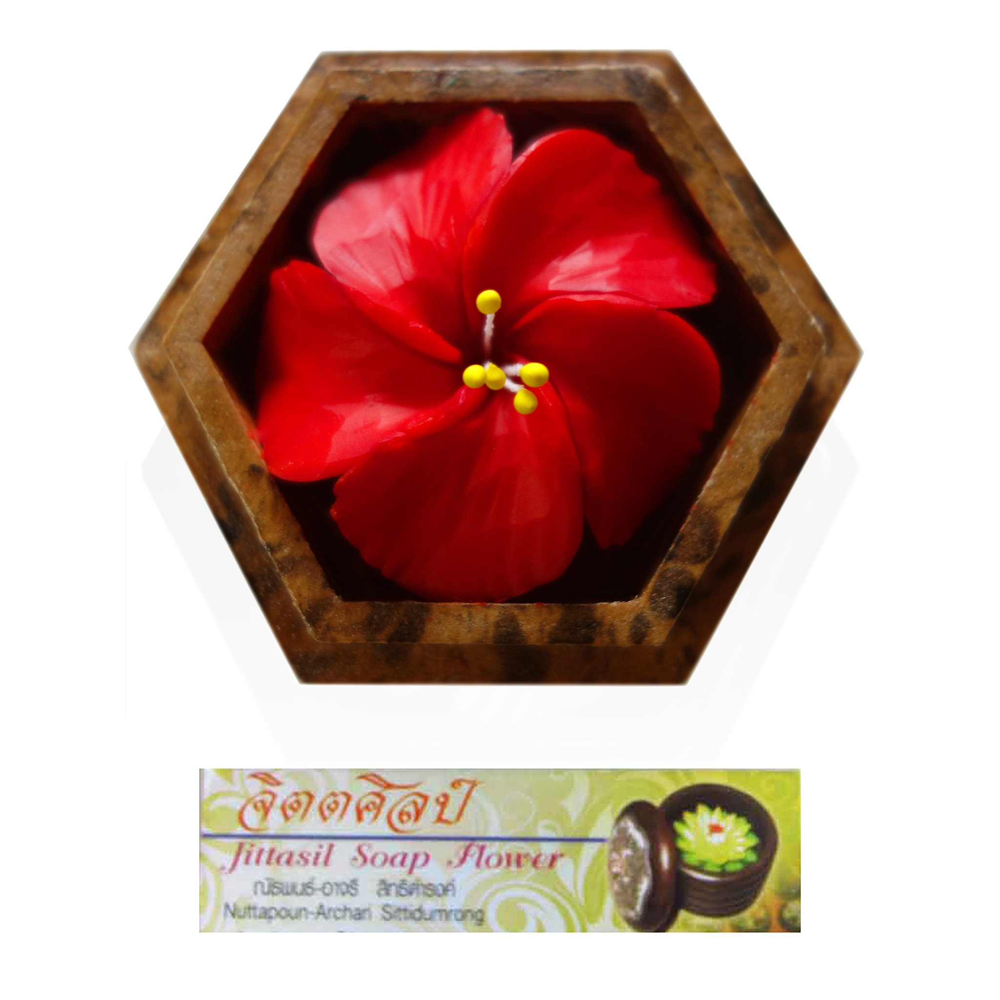 Jittasil Thai Hand-Carved Soap Flower, 4 Inch Scented Soap Carving Gift-Set, Red Hibiscus In Decorative Hexagonal Wood Case