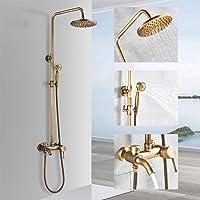 Rozin Sistema de ducha retro con alcachofa de mano, bañera, caño antiguo, sistema de ducha de latón, altura ajustable…