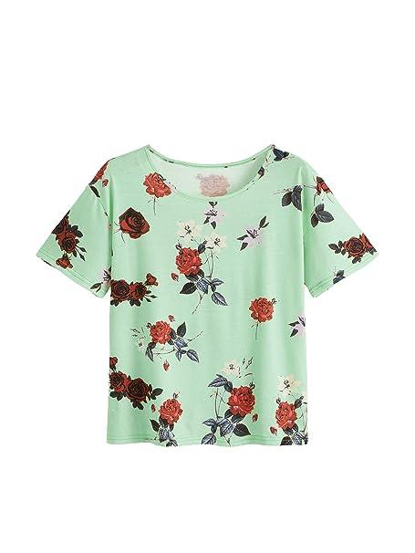 ab542c25a7 SheIn Women's Summer Crewneck Short Sleeve Floral Print Tunic Top Cotton  Blouse Green