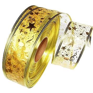200*5cm Westeng Dor/é Ruban No/ël Ruban D/écoration de No/ël pour Diy Mariage D/écor de f/ête 1 Rouleaux