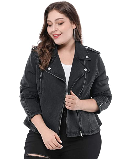 583ede462 Agnes Orinda Women's Plus Size Convertible Collar Inclined Zip Closure  Denim Biker Moto Jacket