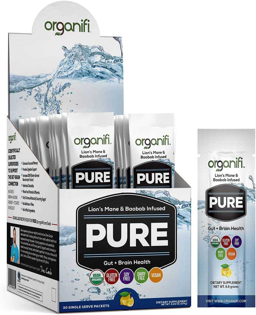 Organifi: Pure Smart Packs - Organic Brain Boost Superfood Solution - 30 Packets - Lemon Flavor - Revitalize & Alkalize for Daily Mental Focus - Gut-Cleansing Digestive Enzymes - Immunity Support