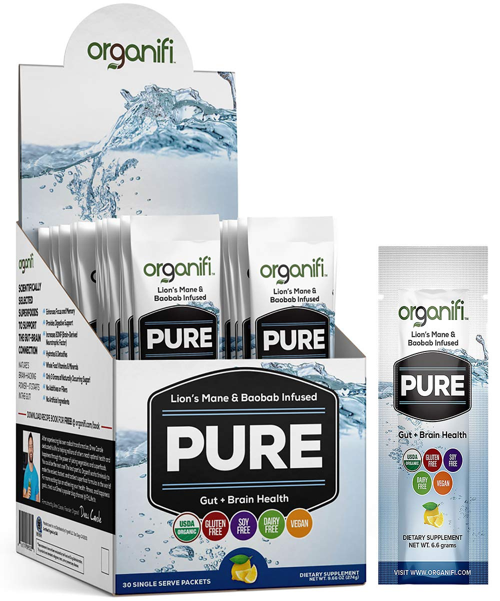 Organifi: Pure Smart Packs - Organic Brain Boost Superfood Solution - 30 Single Serve Packets Per Box - Lemon Flavor - Revitalize & Alkalize for Daily Mental Focus - Gut-Cleansing Digestive Enzymes
