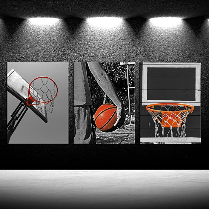 iKNOW FOTO 3 Piece Black and White Sports Canvas Wall Art Basketball Poster Art Prints Painting Framed Pictures Art Work for Gym Walls Decor Boys Gift 12x16inchx3pcs