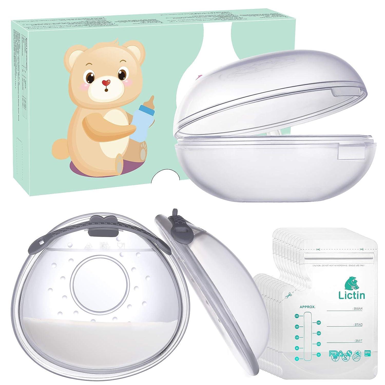 Mit 10 Muttermilchbeutel 2 St/ück Lictin Brustschalen Set Brustwarzenschutz Milchauffangschale Mit weich und wiederverwendbar Stilleinlagen