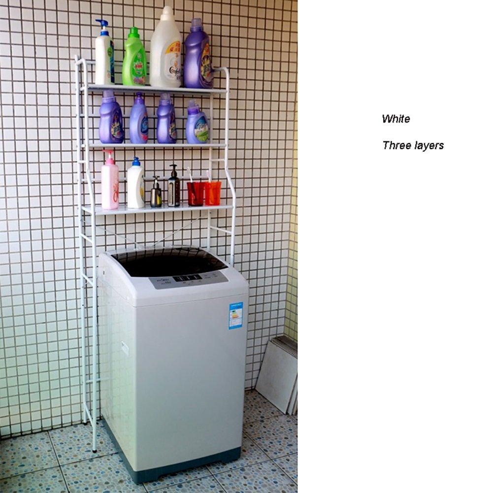 トイレラックトイレ洗面所バスルームストレージシェルフフロアウォッシャーラック3層 (色 : 白) B07D1Z7CYH 白 白