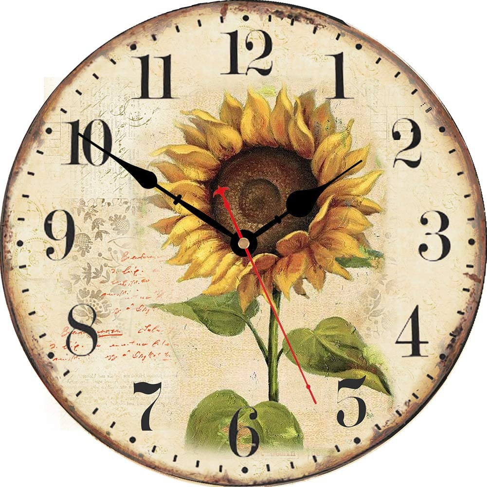 VIKMARI Sunflower Wall Clock Silent Non Ticking - 8 Inch Wooden Quality Quartz Battery Operated Round Wall Clocks for Home/Office/Classroom/School/Kitchen