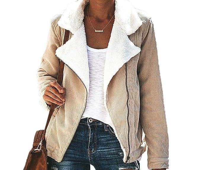 Fräulein Fox Otoño Invierno Mujer Pana Ropa de Abrigo Moda Solapa Manga Larga Suéter Chaqueta Casual Mantener Caliente Tops Sweater OuterwearJacket: ...