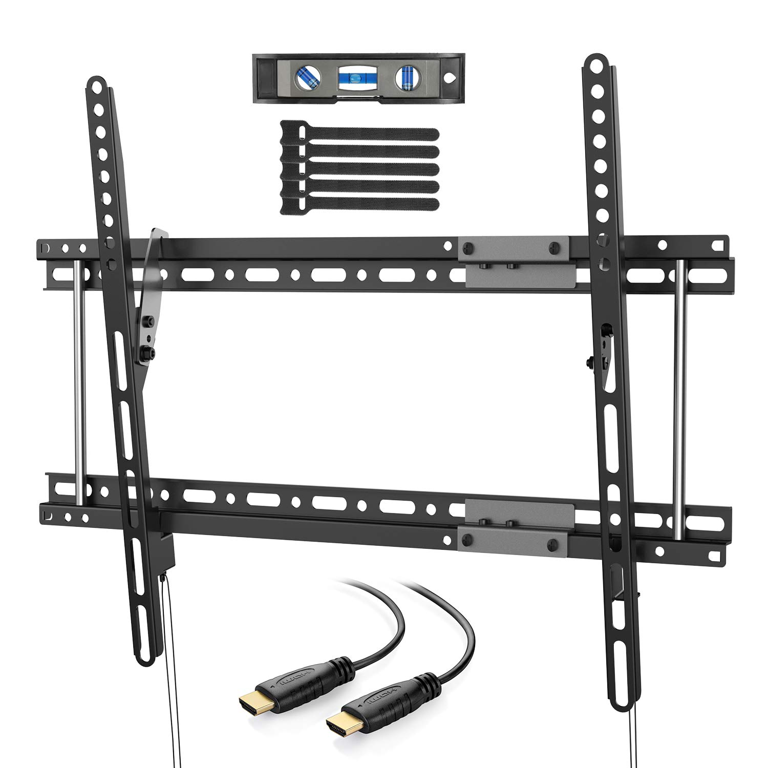 PERLESMITH PSLTK2 Tilting TV Wall Mount Bracket Fits for 16'',18'',24'' Studs, Low Profile Tilt TV Mount for Most 37-70 Inch LED, LCD, OLED, Plasma Flat Screen TVs with VESA up to 600x400mm 132lbs