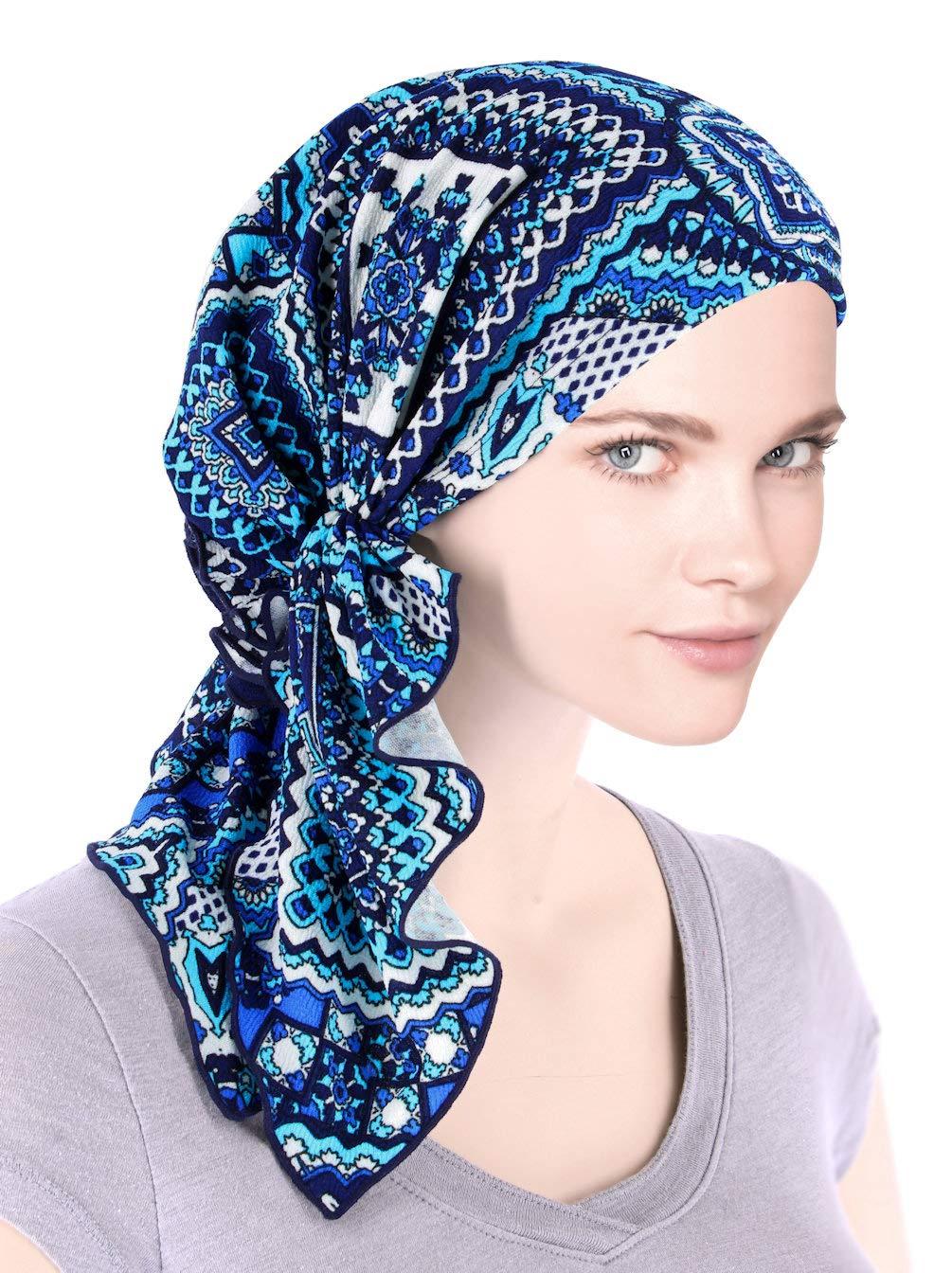 The Bella Scarf Chemo Turban Head Scarves Pre-Tied Bandana for Cancer Bali Blue
