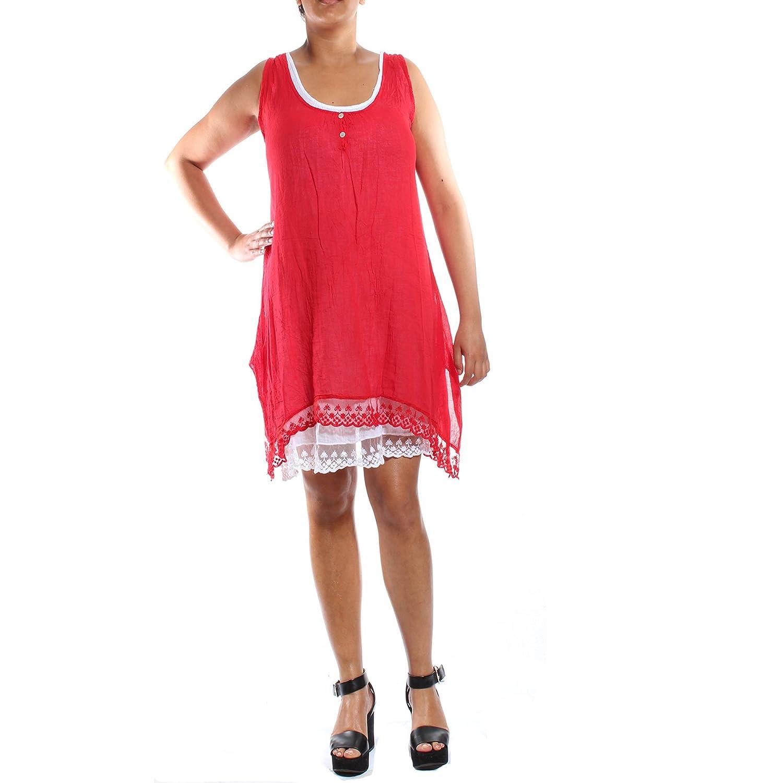 1dbba79d31ec8 Ladies Womens Lagenlook Quirky Sleeveless Linen Boho 2 Piece Wash Layered  Button Maxi Midi Dress Italian Cotton Plus Size UK 8 10 12 14 16 18 20  White  ...