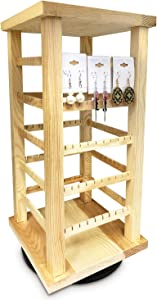 """Ikee Design Natural Wood Rotating Jewelry Tower, Earring and Earring Card Storage Display Holder Stand for Store, Showcase, Tradeshow and Home, 7 3/8""""W X 7 3/8""""D X 15""""H"""