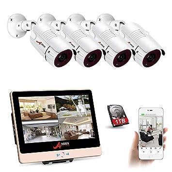 ANRAN POE Überwachungskamera System Set,4Channel 12inch LCD-Videogerät  NVR-Kit 1 TB Festplatte mit 4 HD 1080P Überwachungs-IP-POE-Kameras 100ft