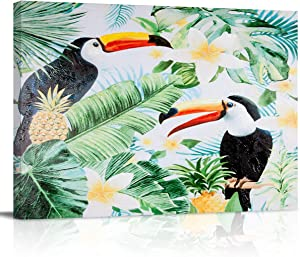 Oil Paintings On Canvas Wall Art Toucan Birds on Tropical Leaves Abstract Print Artwork with Framed Ready to Hang, Living Room Kitchen Corridor Bedroom Office Decor Tropcal Billed Bird Green Leaf