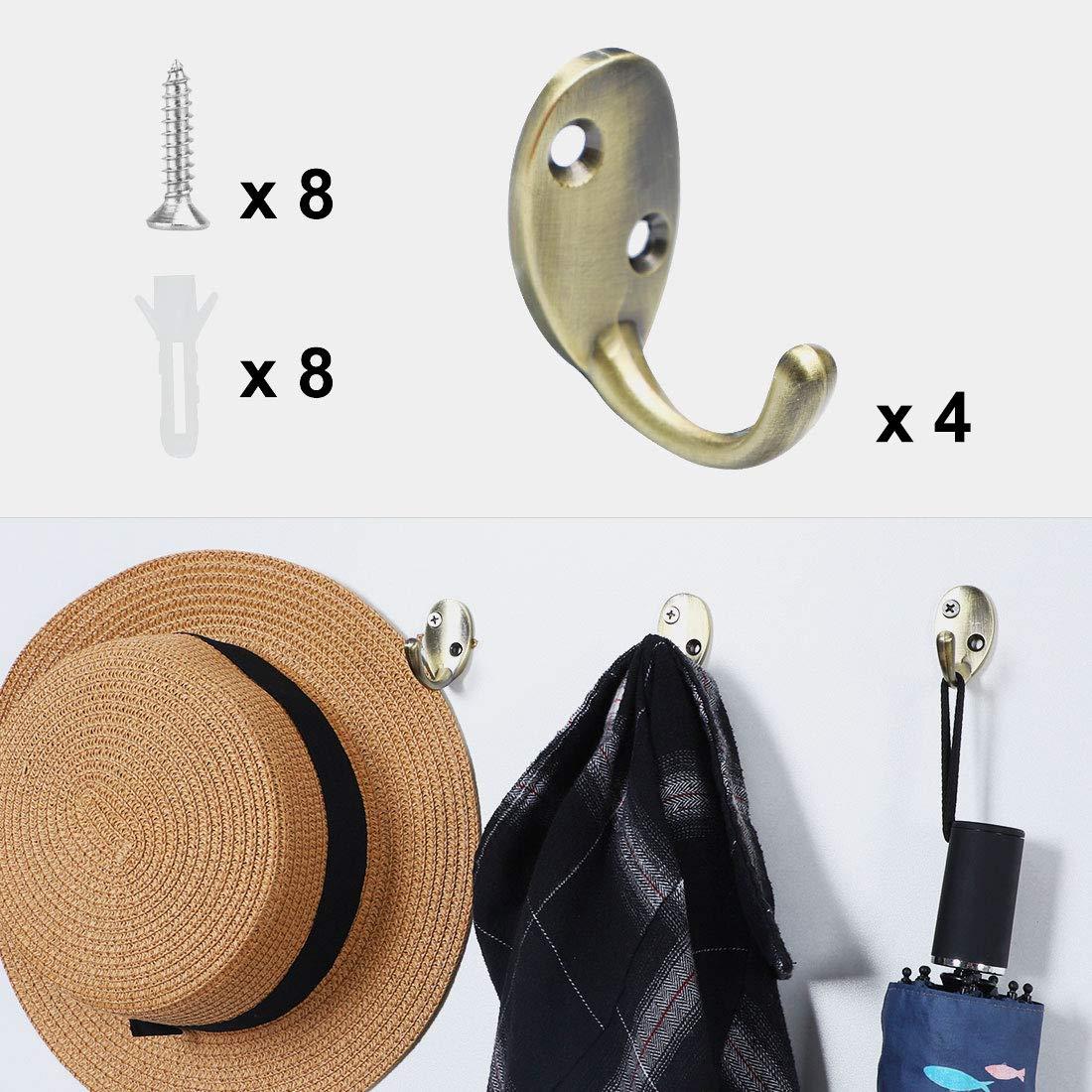 sourcing map 2pcs Wall Hook Zinc Alloy Wall Mounted Hooks Bag Coat Towel Clasp Bathroom Robe Hanger w Screws Copper Tone
