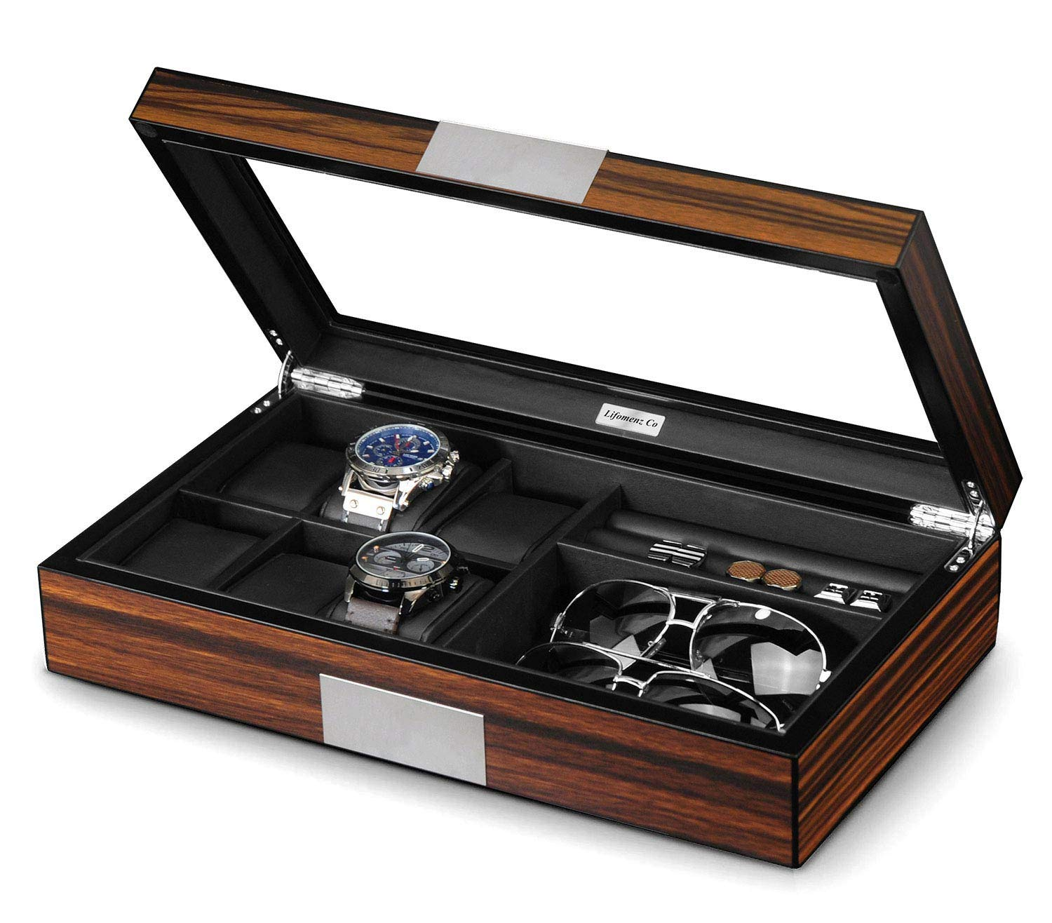Lifomenz Co Watch Jewelry Box for Men 6 Slot Watch Box,6 Watch Case 8 Pair Cufflinks and Sunglasses Display Box,Wood Large Watch Display Case Organizer with Real Glass Window Top by Lifomenz Co